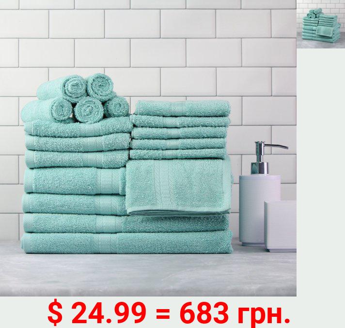 Mainstays Basic Bath Collection, 18-Piece Towel Set, Clearly Aqua