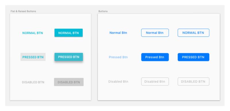 Слева — стандартные кнопки Material Design; справа — стандартные кнопки HIG