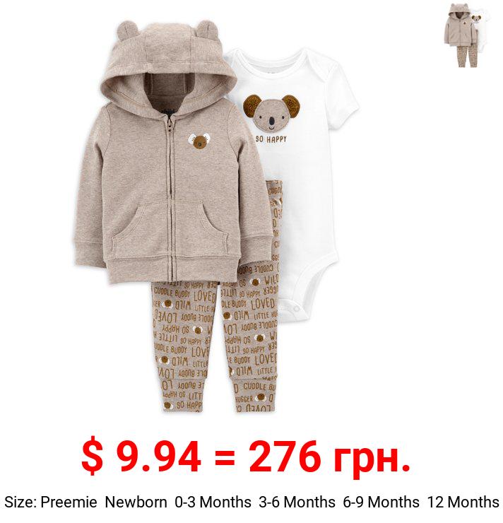 Child of Mine by Carter's Baby Boy Outfit Jacket, Short Sleeve Bodysuit & Pants, 3-Piece Set