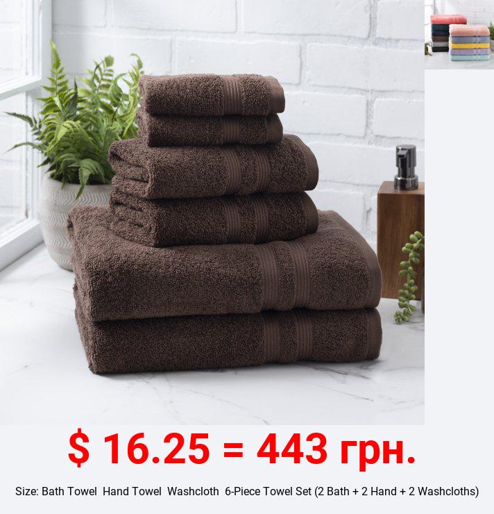 Mainstays Performance Solid 6 Piece Towel Set, Brown Basket