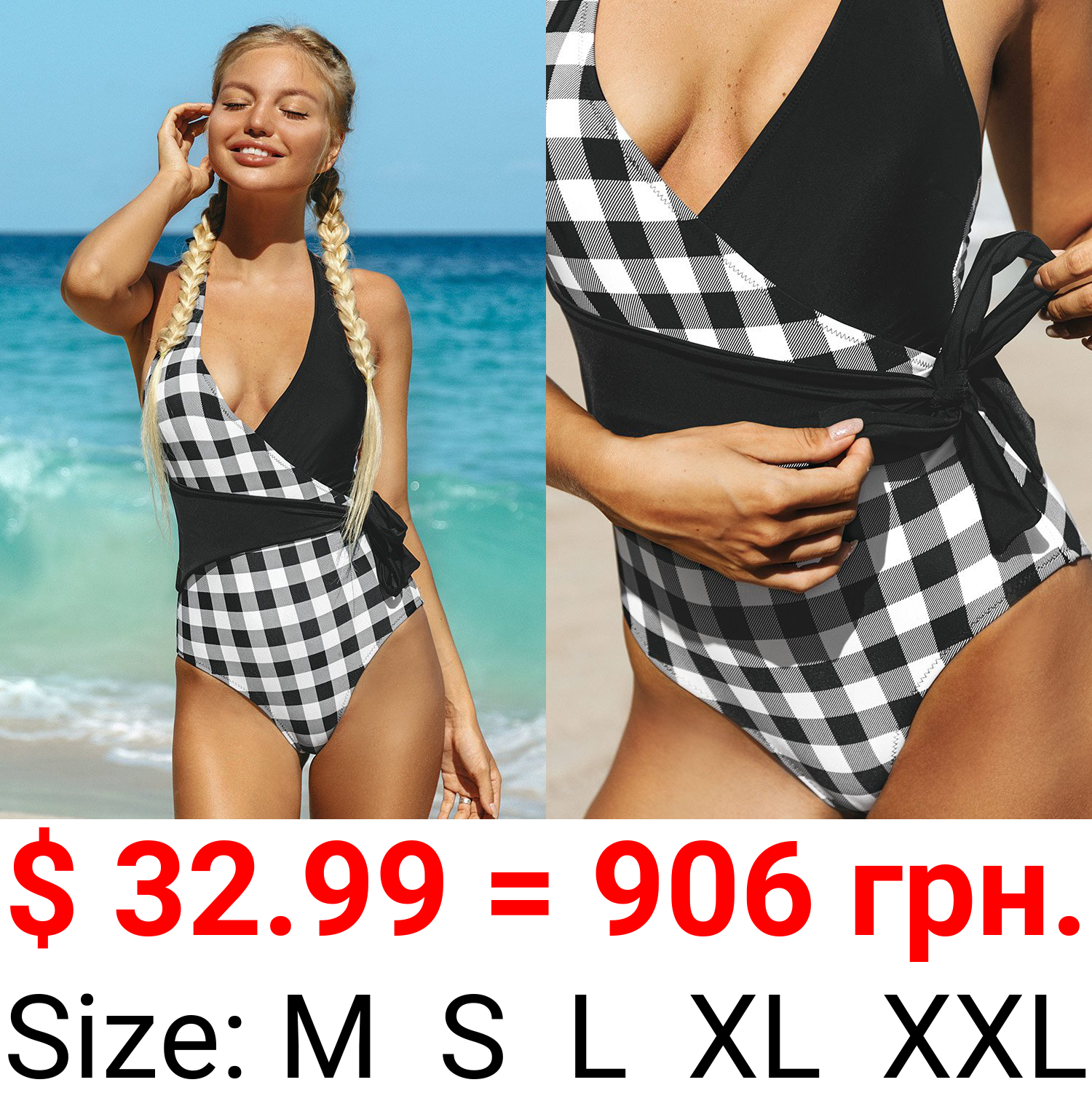 Shiloh Gingham And Black Wrap Halter One Piece Swimsuit