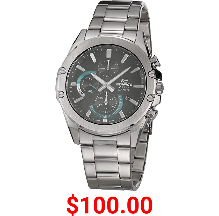 Casio Men's Edifice Quartz Stainless Steel Strap, Silver, 22 Casual Watch (Model: EFR-S567D-1AVCR)