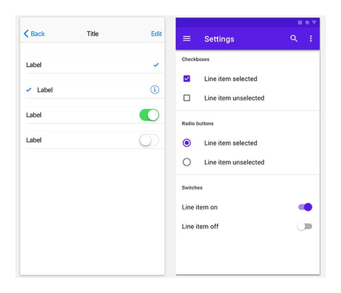 Слева стандартные элементы выбора iOS; справа — стандартные элементы выбора Android
