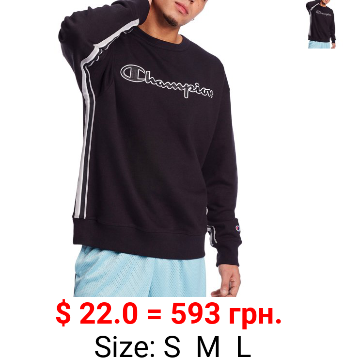 Champion Men's Powerblend Applique Crewneck Sweatshirt with Taping, up to Size 2XL