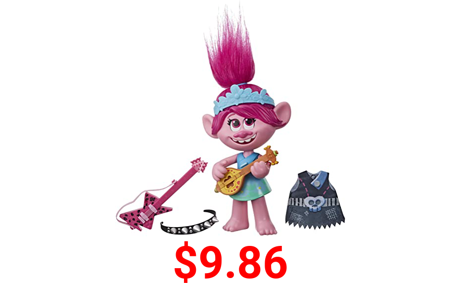 DreamWorks Trolls World Tour Pop-to-Rock Poppy Singing Doll with 2 Different Looks and Sounds, Toy Sings Trolls Just Want to Have Fun (English)