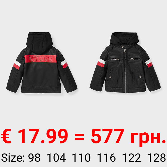 Bikerjacke - Lederimitat - 2-in-1-Look