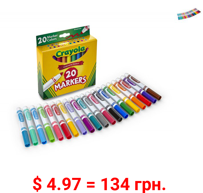 Crayola 20 Count Broad Line Classic Markers Perfect for Back To School