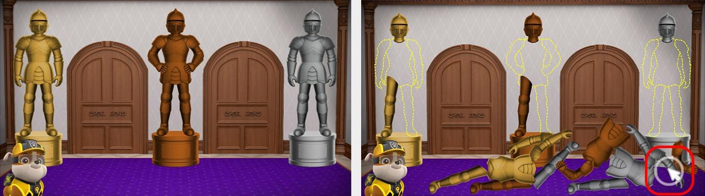 Игра Mission PAW на сайте  использовала четкую визуальную анимацию и звуковые инструкции, чтобы объяснить, что нужно детям и как выполнить задачу с головоломки.