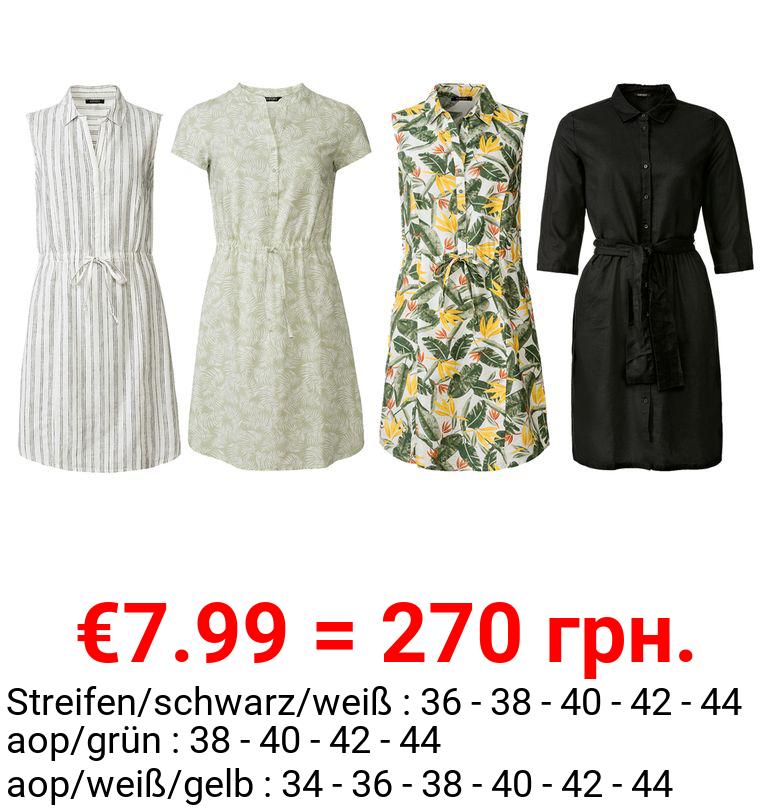 ESMARA® Kleid Damen, mit Knopfleiste, aus Leinen und Baumwolle