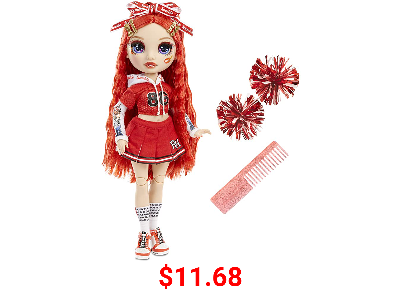 Rainbow High Cheer Ruby Anderson – Red Cheerleader Fashion Doll with 2 Pom Poms and Doll Accessories, Great Gift for Kids 6-12 Years Old
