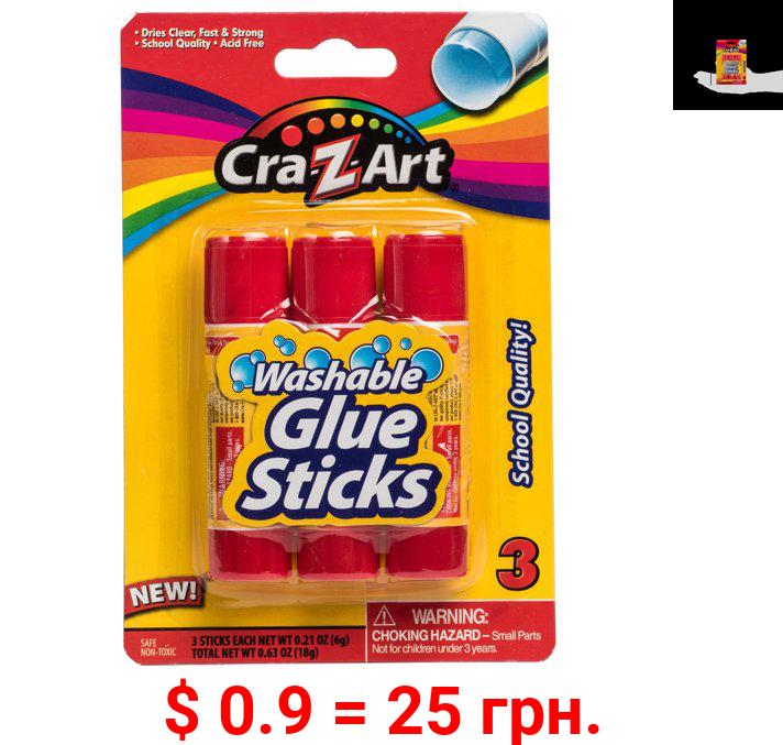 Cra-Z-Art Washable Glue Sticks, School Quality, 3 Count