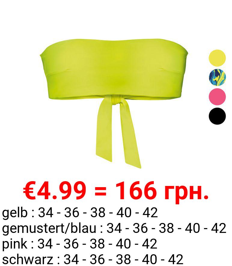 ESMARA® Bikini Oberteil Bandeau Damen, bügellos