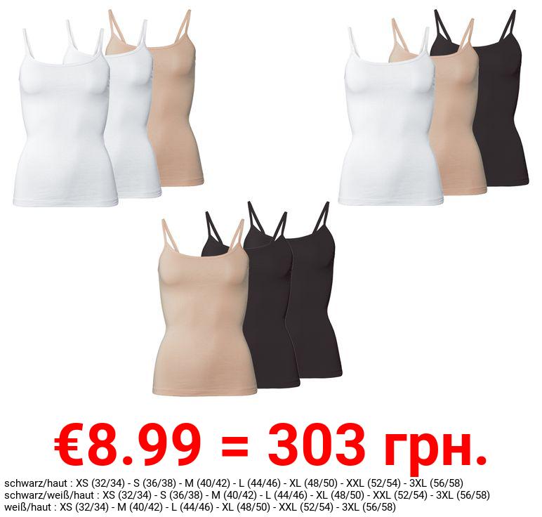 ESMARA® Spaghettiträgerhemden Damen, 3 Stück, mit Bio-Baumwolle und Elasthan