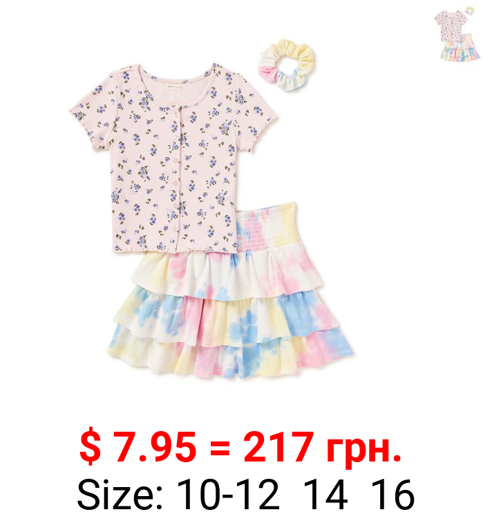 Theme by Ariella Girls Floral Buttoned Top and Tiered Tie Dye Skirt, 2-Piece Set with Matching Scrunchie, Sizes 7-16