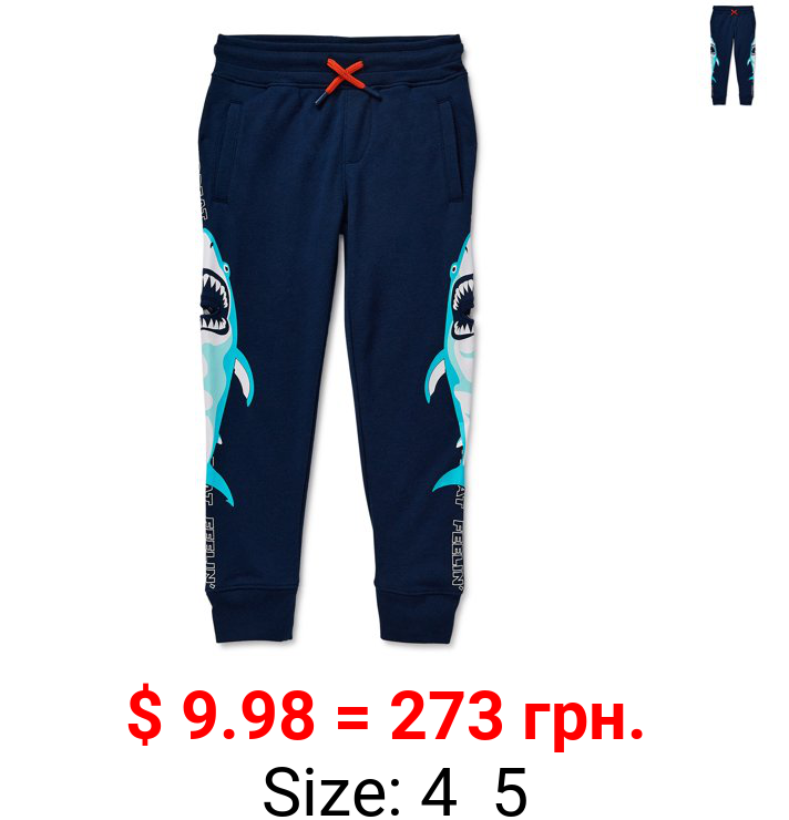 365 Kids From Garanimals Boys French Terry Shark Joggers, Sizes 4-10