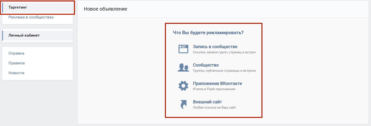 Алгоритм запуска таргетированной рекламы ВКонтакте