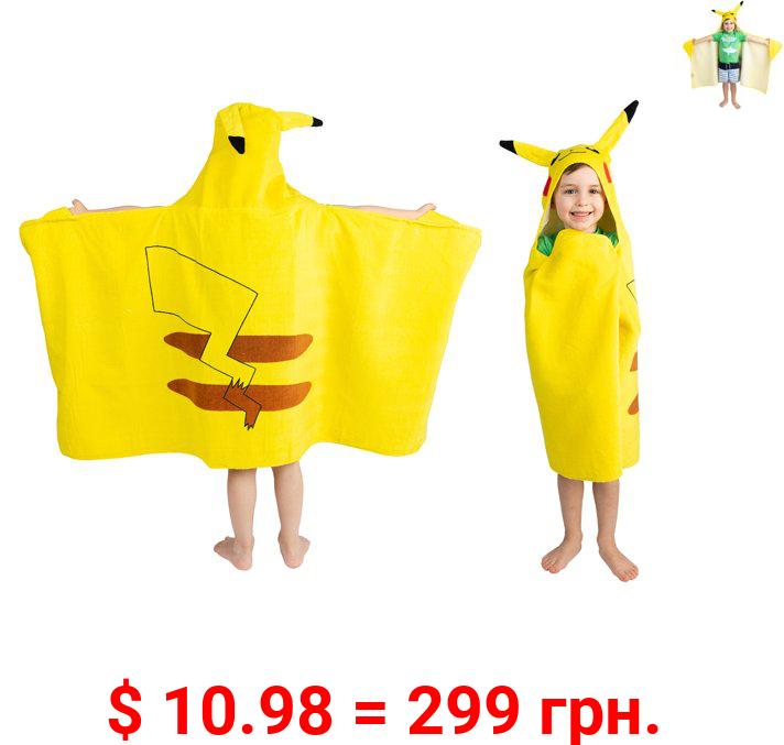 Pokemon Kids Pikachu Bath and Beach Hooded Towel Wrap, 100% Cotton, Yellow