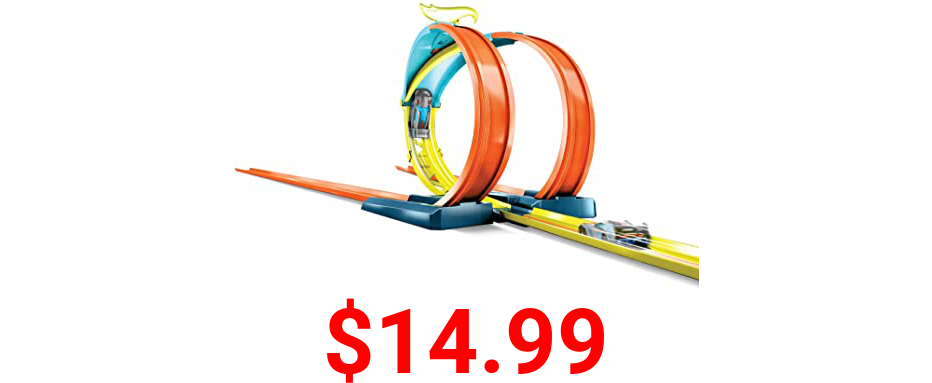 Hot Wheels Track Builder Unlimited Split Loop Pack, Loop with 2 Exit Options, Connects to Other Sets, Includes 1 Hot Wheels Car, Gift for Kids 6 to 12 Years Old