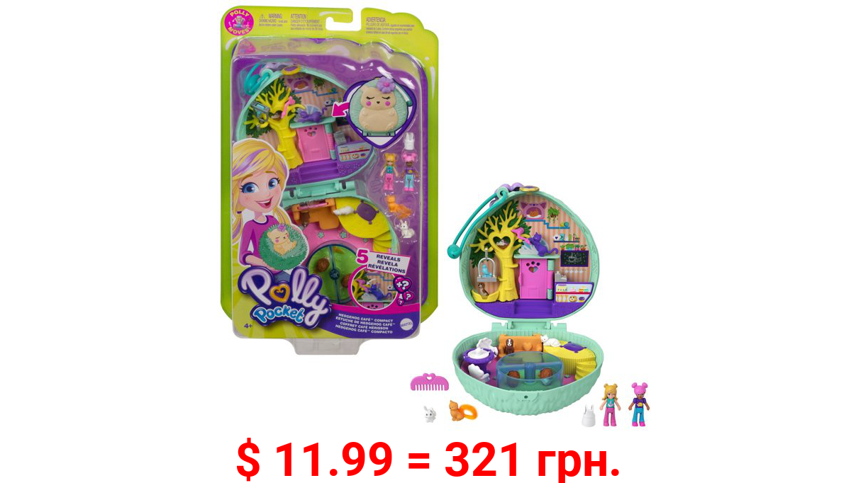 Polly Pocket Hedgehog Cafe Compact, 2 Micro Dolls, 2 Animal Figures