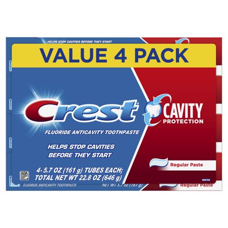 Crest Cavity Protection Toothpaste, Regular Paste, 5.7 oz, Pack of 4