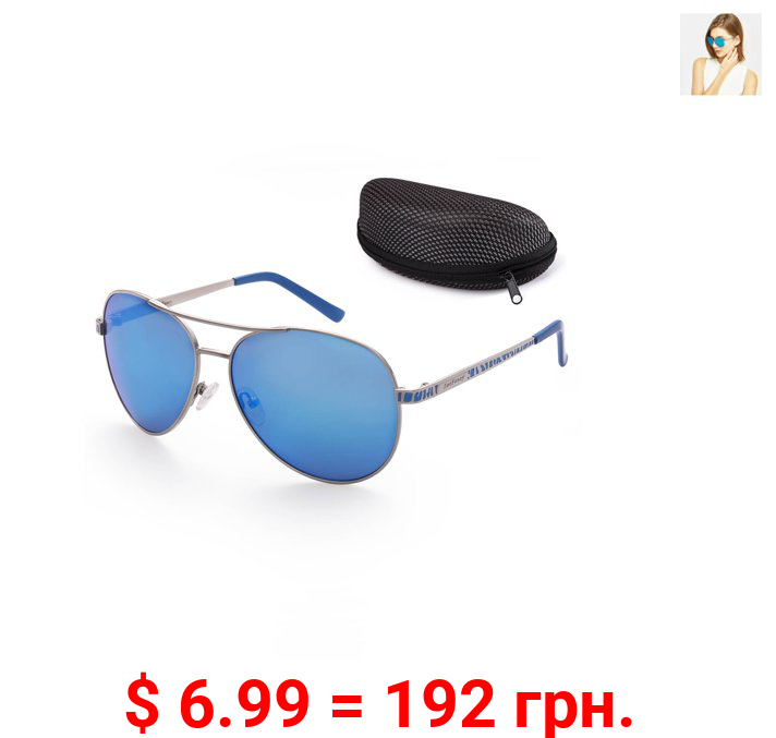 Aviator Sunglasses for Women with Case, Blue Mirrored, 61mm