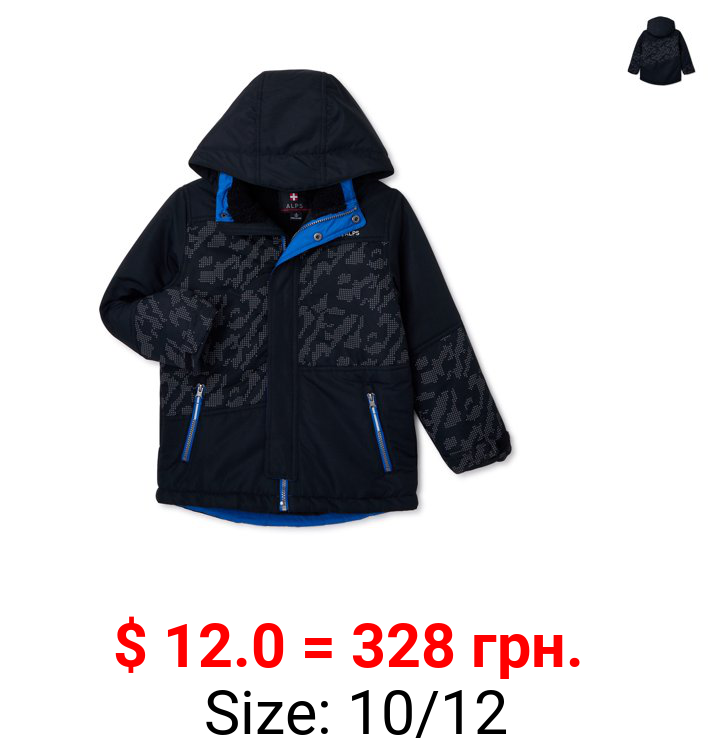 Swiss Alps Boys Ski Jacket with Relfective Camo Print