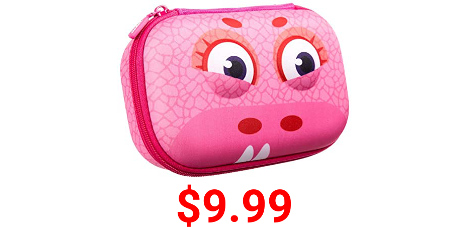 ZIPIT Wildlings Pencil Box for Kids, Cute Storage Case for School Supplies, Holds Up to 60 Pens, Zipper Closure, Machine Washable (Pink)