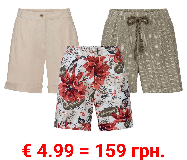 ESMARA® Shorts Damen, aus Leinen und Baumwolle