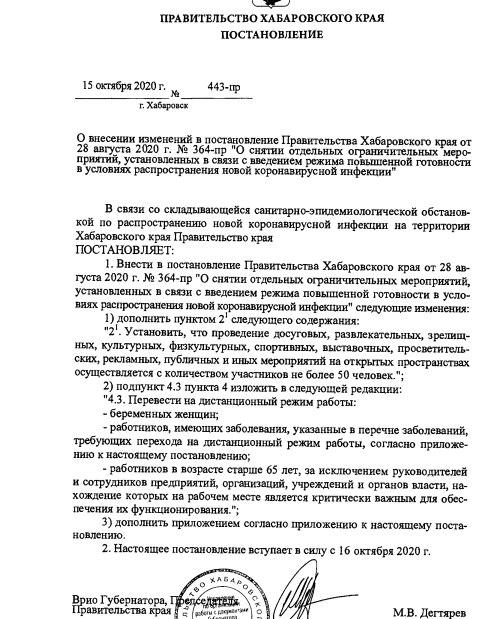 Дополнительные ограничения из-за COVID-19 вводятся в Хабаровском крае