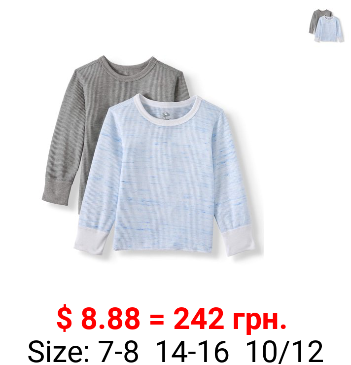 Fruit of the Loom, Boys Undershirts, 2 Pack Super Soft Mini Waffle Baselayer Thermal Tops Sizes 4/5 - 14/16