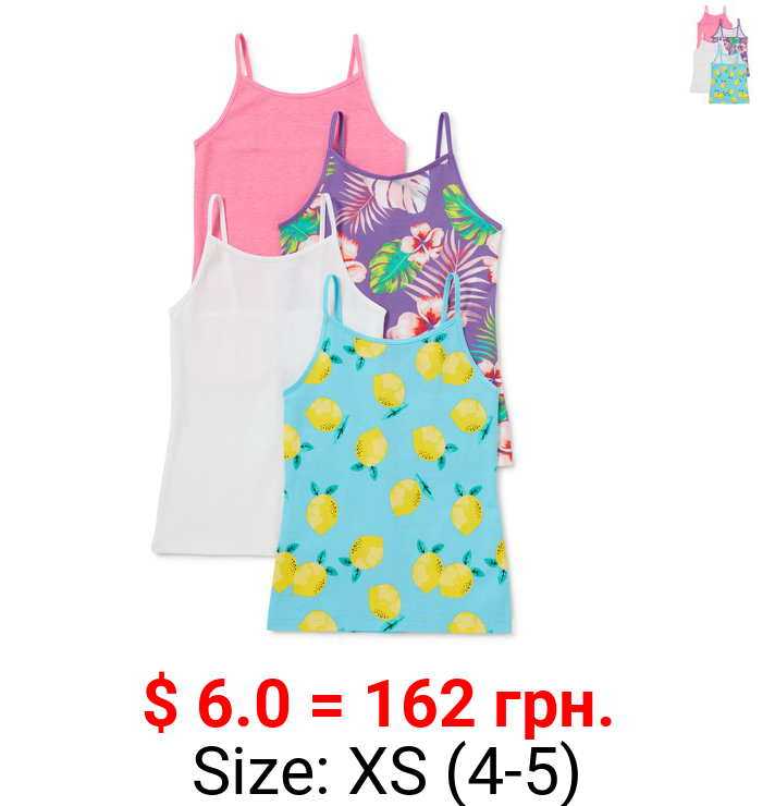 George Girls Print & Solid Cami Tank Tops, 4-Pack, Sizes 4-16