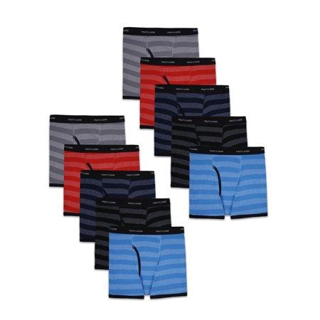 Fruit of the Loom Boys Underwear, 10 Pack Striped Boxer Brief Underwear Sizes 6/8 - 18/20