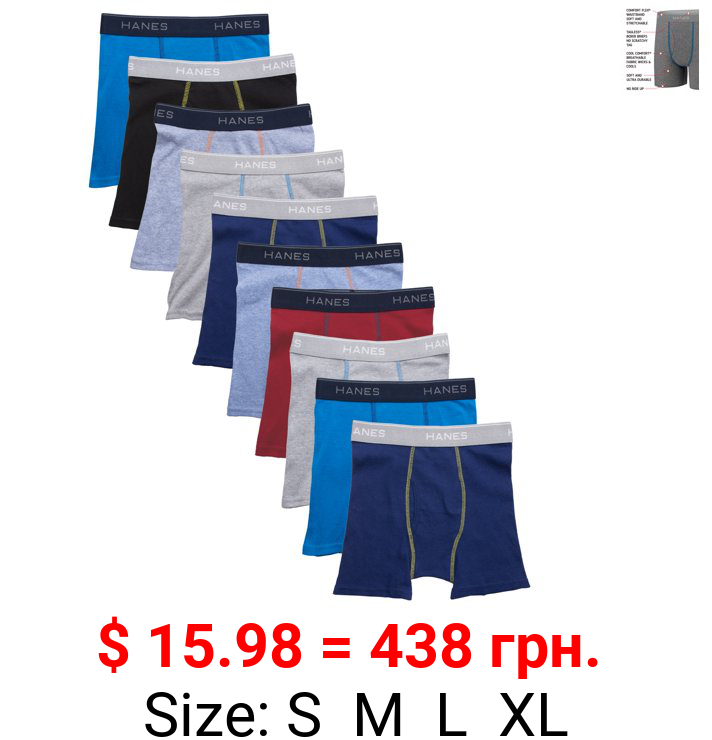 Hanes Boys' Cotton Boxer Briefs Assorted Solid Colors, 10-Pack