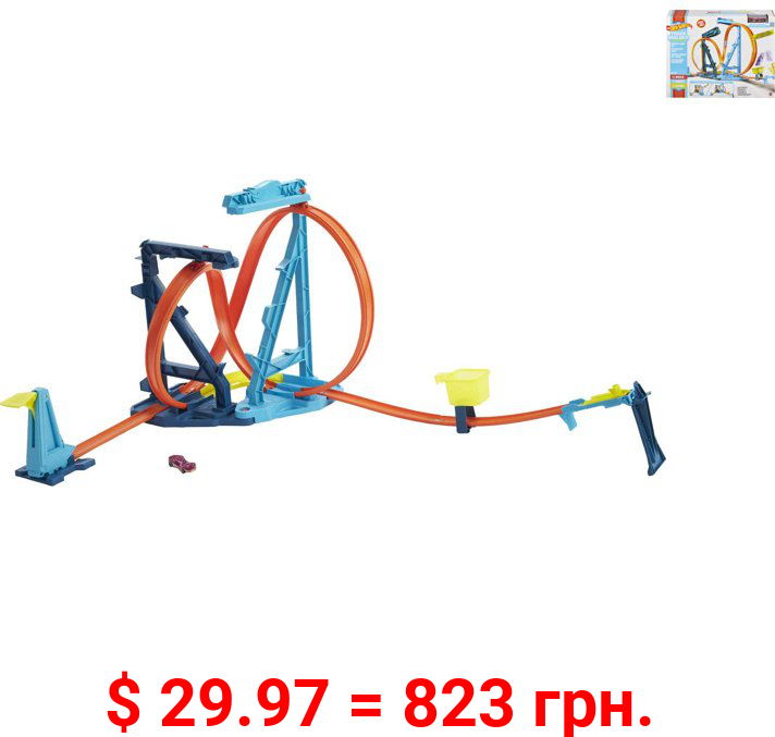 Hot Wheels Track Builder Unlimited Infinity Loop Kit With Adjustable Set-Ups & Jump Vehicle Playset (24 Pieces)