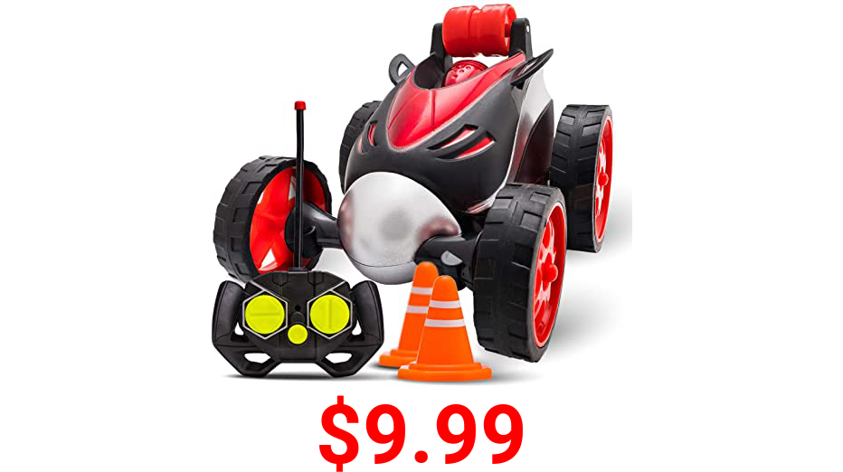 Atlasonix Remote Control Car for Boys - RC Stunt Car Toy   4-Wheel Drive Car Spins and Flips   Indoor and Outdoor w/ Bonus - 6 Traffic Cones   Gift for Kids 3-10   Size 7 x 5 in (Red)