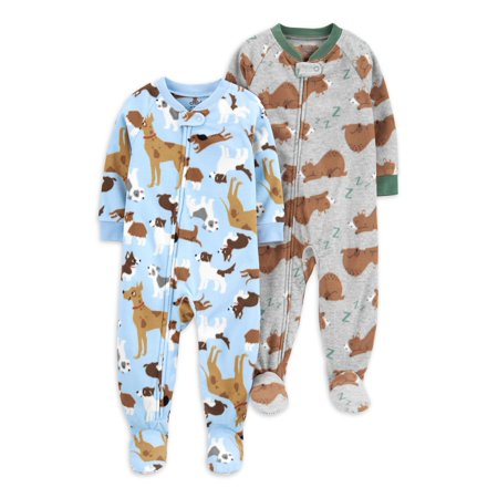 Child of Mine by Carter's Baby & Toddler Boys Microfleece Blanket Sleeper Footed Pajamas, 2-Pack (9M-5T)