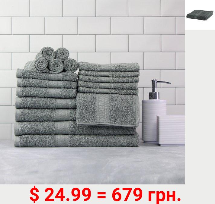 Mainstays Basic Bath Collection, 18-Piece Towel Set, Light School Grey (4 Bath, 4 Hand, 10 Wash)