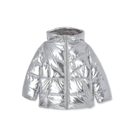 Wonder Nation Girls Exclusive Metallic Bubble Puffer Jacket, Sizes 4-18 & Plus