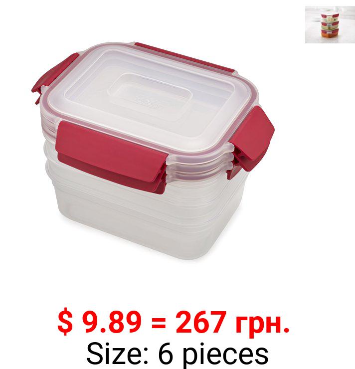 Joseph Joseph Nest Lock Plastic Food Storage Container Set with Lockable Airtight Leak-Proof Lids 6-Piece Set, 37 ounces, Red