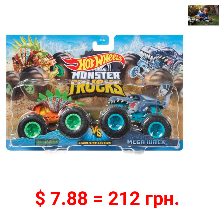 Hot Wheels Monster Trucks Demo Doubles 2 Pack (Styles May Vary)
