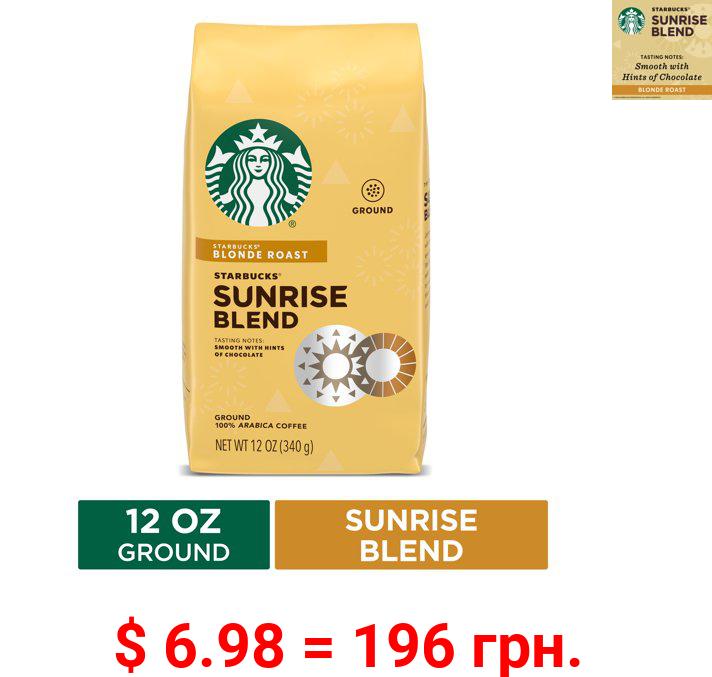 Starbucks Blonde Roast Ground Coffee — Sunrise Blend — 100% Arabica — 1 bag (12 oz.)