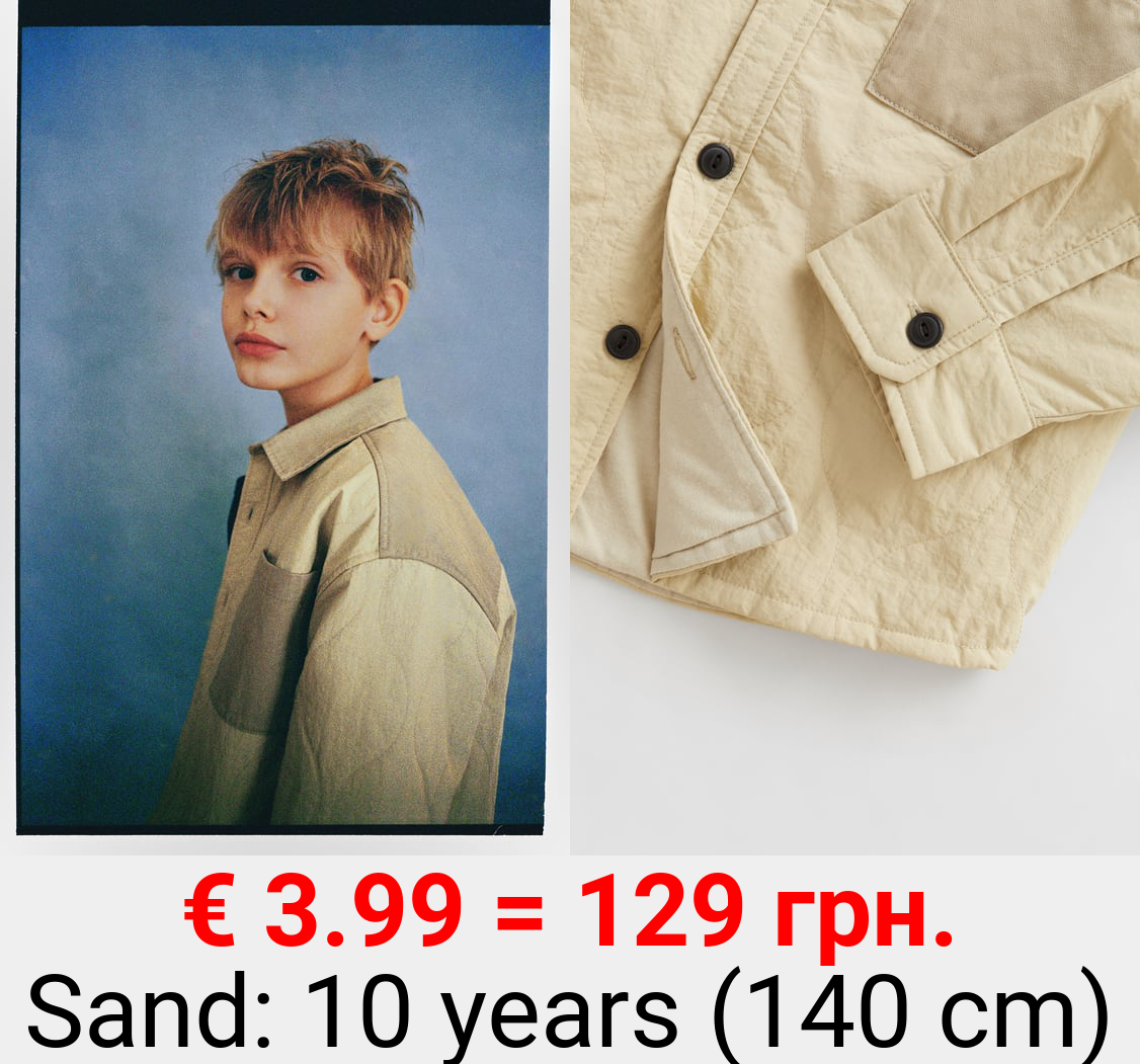 CONTRAST OVERSHIRT WITH TOPSTITCHING