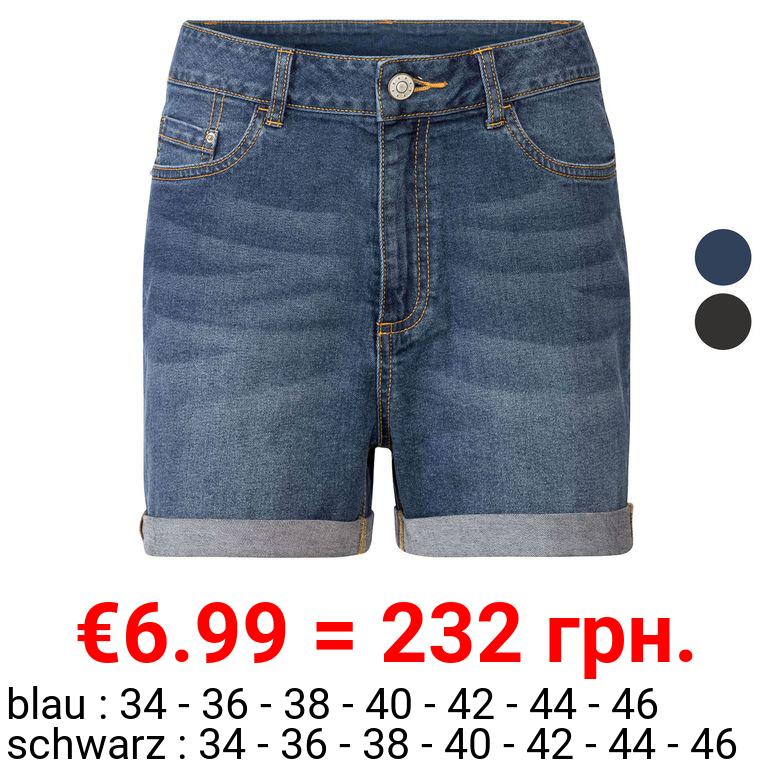 ESMARA® Jeansshorts Damen, mit modischer Krempeloptik
