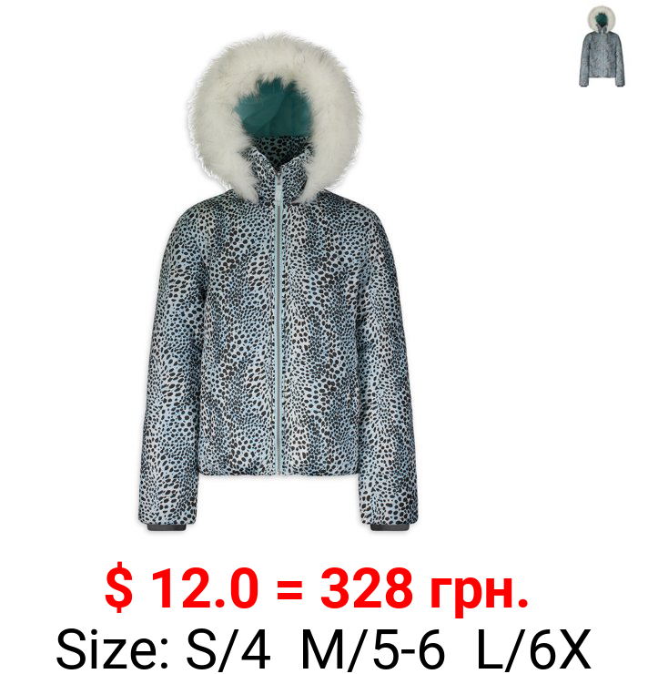 Jessica Simpson Girls Morgan Printed Puffer Jacket with Faux Fur Trimmed Hood Sizes 4-16