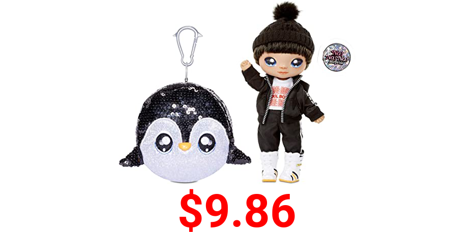 """MGA Entertainment Na Na Na Surprise 2-in-1 Boy Fashion Doll and Sparkly Sequined Purse Sparkle Series – Andre Avalanche, 7.5"""" Penguin Boy Doll"""