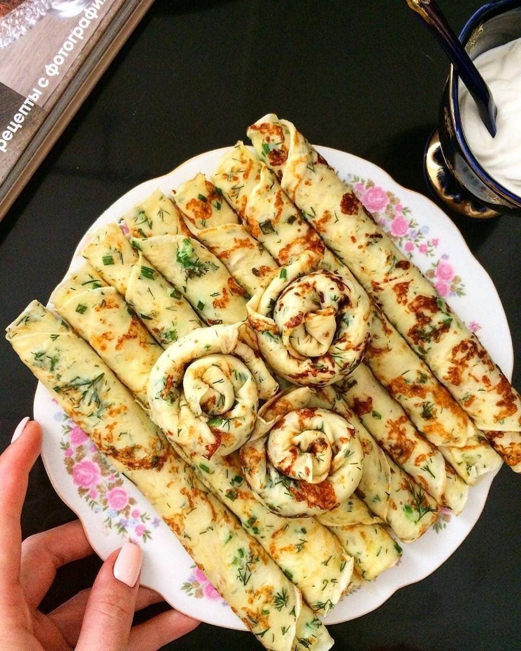 Блинчики с сыром и зеленью пошагово