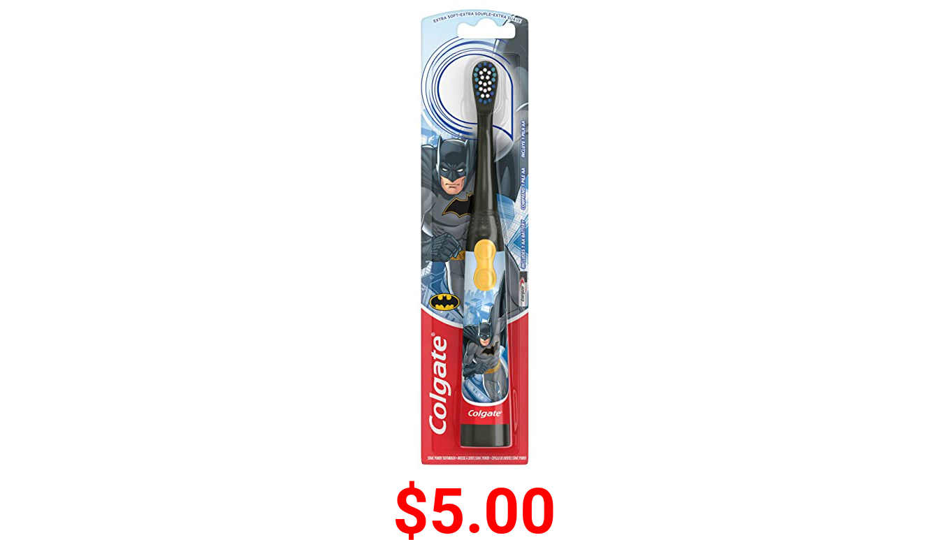 Colgate Kids Electric Battery Powered Toothbrush for Ages 3+, Extra Soft, Batman