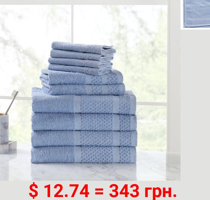 Mainstays Value 10-Piece Cotton Towel Set with Upgraded Softness & Durability, Office Blue