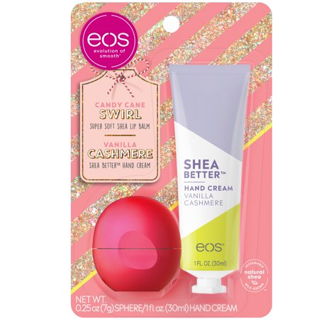 ($4.99 Value) eos Holiday Lip Balm Sphere & Shea Better Hand Cream – Candy Cane Swirl and Vanilla Cashmere | 2 count