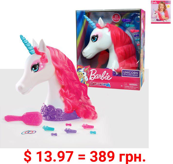 Barbie Dreamtopia 11-Piece Unicorn Styling Head, Ages 3 +